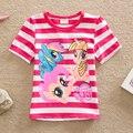 Bebé Ropa de Niña de Verano de Dibujos Animados Niñas Pony Camiseta A Rayas Tops Tee Camiseta de Los Niños Ropa de los Bebés de Manga Corta Camiseta