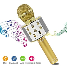 Karaoke Microphone Wireless Bluetooth Speaker Handheld Music Player MIC Singing Recorder KTV Microphone Home Karaoke Mic ws858 цена