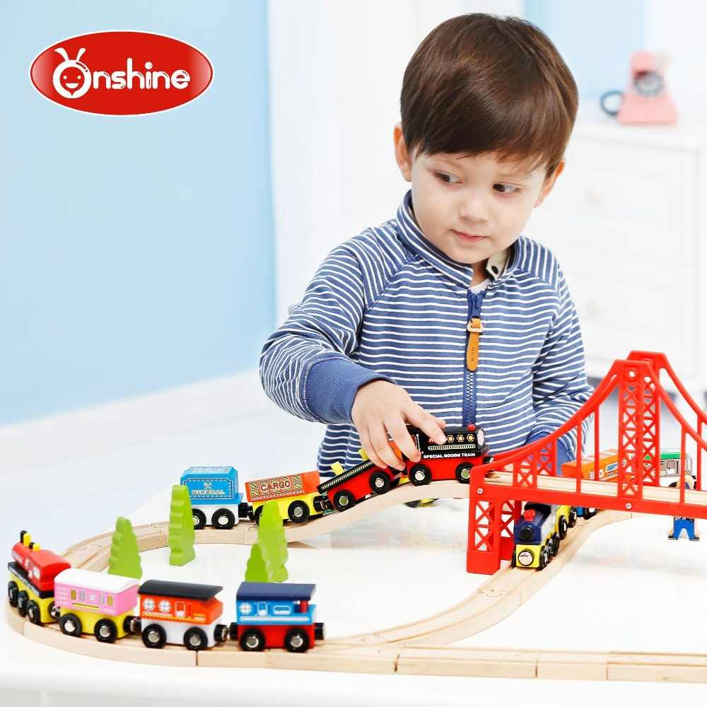 Brand baby wooden vehicle track train toys/ pull back Mini train transportation truck for Kids Child classic toys, free shipping