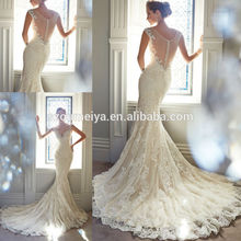 free shipping see through back 2016 new design vestido de noiva white ivory Custom Lace appliques beading Mermaid Wedding Dress