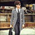 2015 Fall New England male brand fashion plaid casual Slim stylish long coat Trench jacket tide Costumes outerwear mens clothing