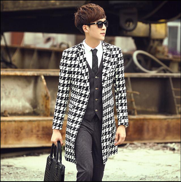 Queda inglaterra marca xadrez masculino fino casaco elegante longo trajes maré jaqueta homens outerwear