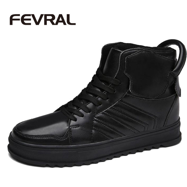 FEVRAL Marca Men Boots Lace Up High Top Hombres Botas Cortas Retro Plaid Hebilla Motocicleta Botas Moda Hombre Martin Zapatos de Seguridad Laboral