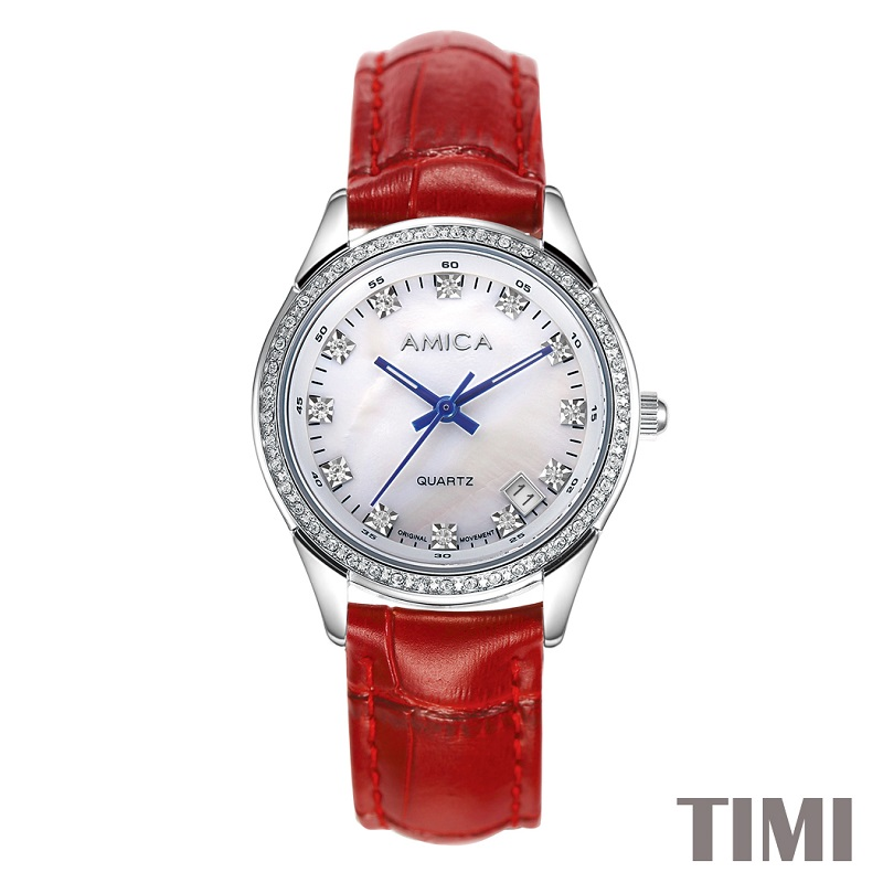 AMICA NEW FASHION  2017 FULL STEEL DEEP RED WATCHBAND SLIVER SURFACE BLUE POINTER  WOMENS QURATZ WATCH LADYS WATCH A7-3 danchel gazeble sliver steel frame folding tent size 2x2 2x3 3x3 3x4 5 3x6 color blue and red
