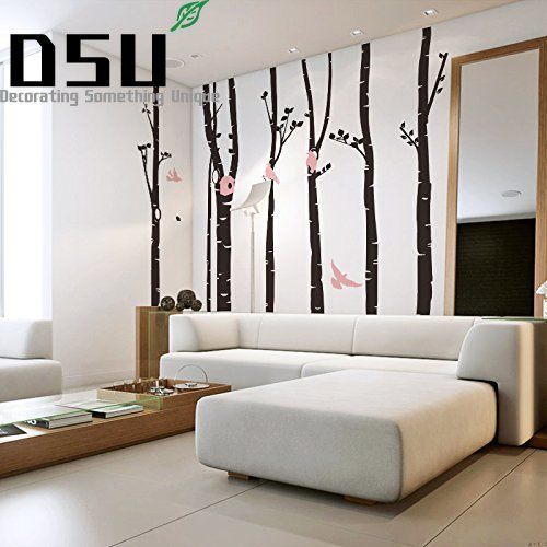 246 * 230 Birch Tree Wall Decal Forest With Snow Birds And Deer Vinyl Sticker Removable Wall Decor Large Tree Sticker Wallpaper removable diy tree and birdcage pattern wall sticker for living room decor