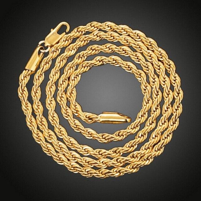 53fc73bb4844 Cadena de cuerda trenzada de oro amarillo llena de mujer para hombre collar  Cadena de nudo