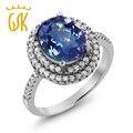 Gemstoneking 4.00 ct milenio ovalada blue mystic cuarzo plata esterlina del sólido 925 de las mujeres anillo de cóctel