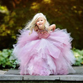 Rosa Que Bling Beading Vestido de Bola Da Menina de Flor Vestidos com Homenagem para Casamentos foto Real de Longo Apliques Vestido Primeira Comunhão 2017