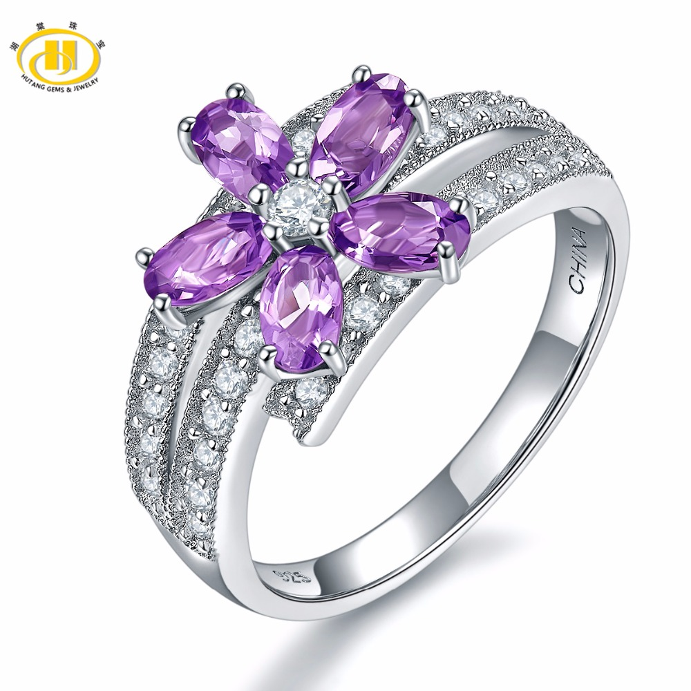 Hutang Engagement Rings Natural Gemstone African Amethyst Solid 925 Sterling Silver Flower Fine Fashion Jewelry For Women Gift