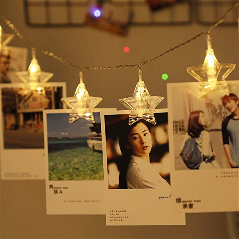 Star Photo Clips String Lights Photograph Lights, Battery Operated Fairy String Lights With Clips For Hanging Pictures, Cards