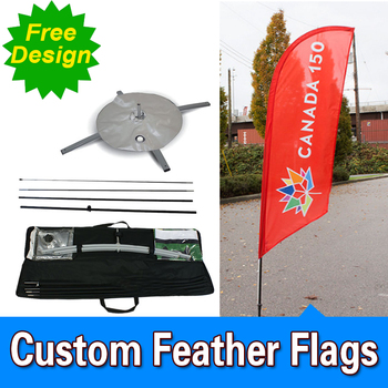 Free Design Free Shipping Single Sided Cross Base Feather Banners Flag Signs Advertising Feather Flag Nation Feather Signs
