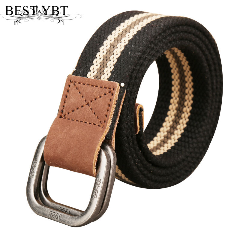 Apparel Accessories Trustful Best Ybt Unisex Canvas Belt Men Weaving Canvas Alloy Double Ring Buckle Belt Men & Women Casual Retro Canvas Belt 110-140cm