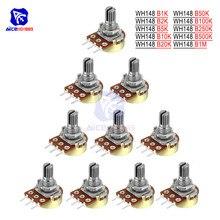 5 шт./лот резистор потенциометра 1K 2K 5K 10K 20K 50K 100K 250K 500K 1M Ω/Ohm 3Pin Линейный Конус поворотный потенциометр для Arduino