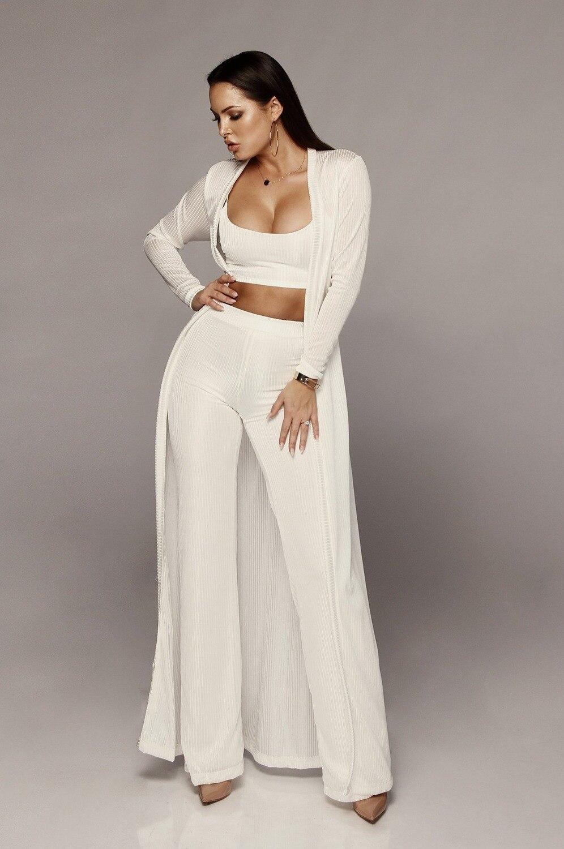 Bandage lace up long sleeve cardigan coat loose wide leg pants tube top 3 piece set for female women's suits 3