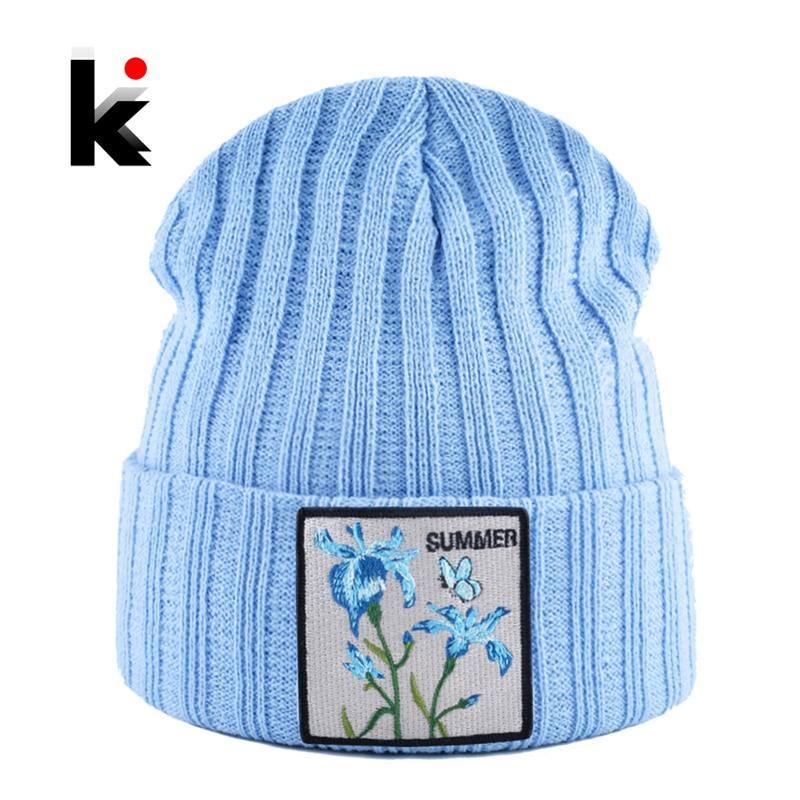 Knitted Hats For Women Streetwear Skullies Beanies With Flower Patch Spring Autumn Knitting Gorra Men Winter Casual Bonnet Cap