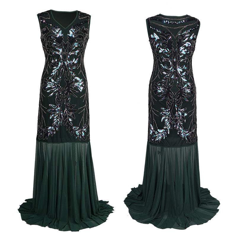 S XXXL Sundress Sequined 1920s Summer Gatsby Dress Embroidery Tassels Flapper Dress Sleeveless V Neck Women Sexy Party Clothing in Dresses from Women 39 s Clothing