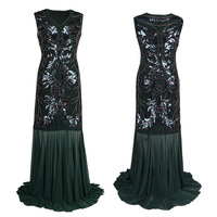 Sundress Sequined 1920s Summer Gatsby Dress Embroidery Tassels Flapper Dress Sleeveless V Neck Women Sexy Party Clothing