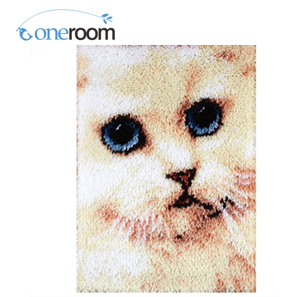 nOneroom ZD117 white cat  Hook Rug Kit DIY Unfinished Crocheting Yarn Mat Latch Hook Rug Kit Floor