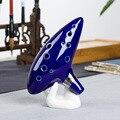 50 pçs/lote Azul 12 Buracos Alto C Ocarina Kiln-demitido Cerâmica Legend of Zelda Ocarina of Time Flute de Sopros instrumentos de brinquedo figura