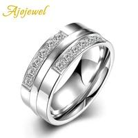 New 2016 Ajojewel Brand Hot Sale European Style High Quality Stainless Steel Lovers Elegant Zircon Couple