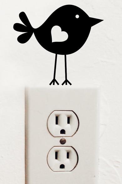 Lindo pájaro vinilo interruptor de luz de pared de vinilo sticker decal decoraci