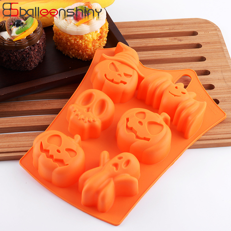 BalleenShiny Silicone Halloween Chocolate Cake Mould Pumpkin Bat Ice Mold DIY Chocolate Cookie Bread Cake Decoration Baking Tool image