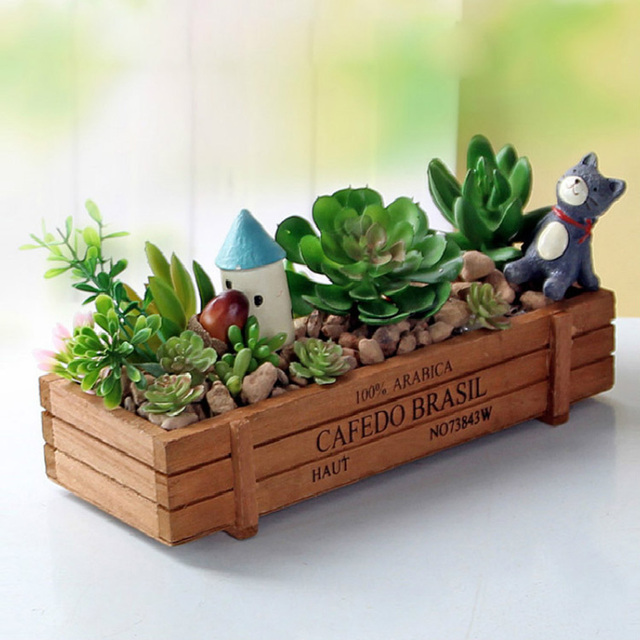 Garden Plant Pot Decorative Vintage Natural Flower Planter Succulent Wooden Case Rectangle Table Flower Pots Gardening Device