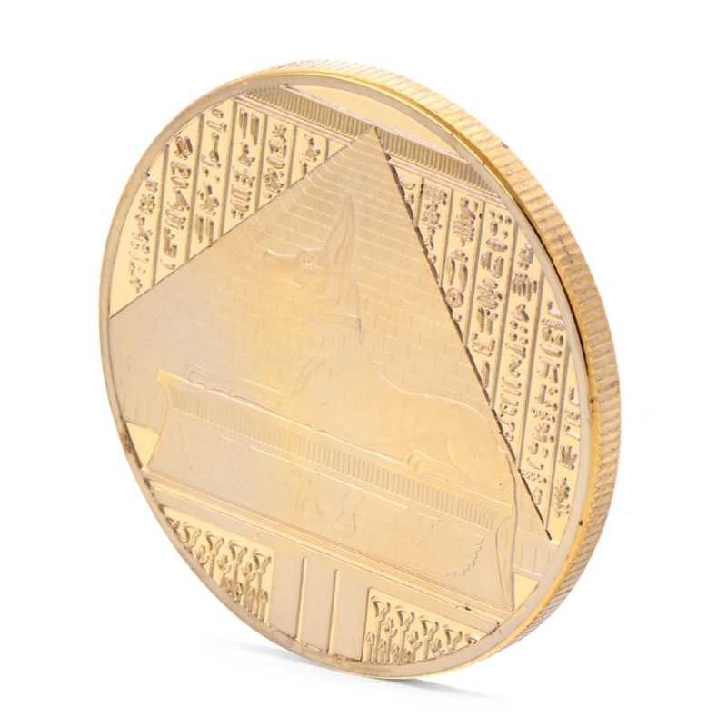 Prata Banhado A Libra Egito Pirâmide Desafio Moeda Comemorativa Lembrança Token