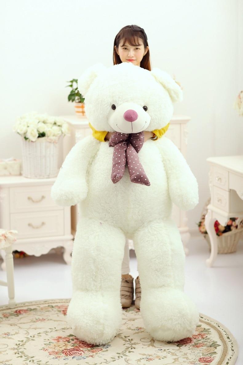 Огромный 150 см белый медведь плюшевые игрушки, бабочкой плюшевый мишка кукла обнимая подушку, подарок на день рождения, Рождественский пода