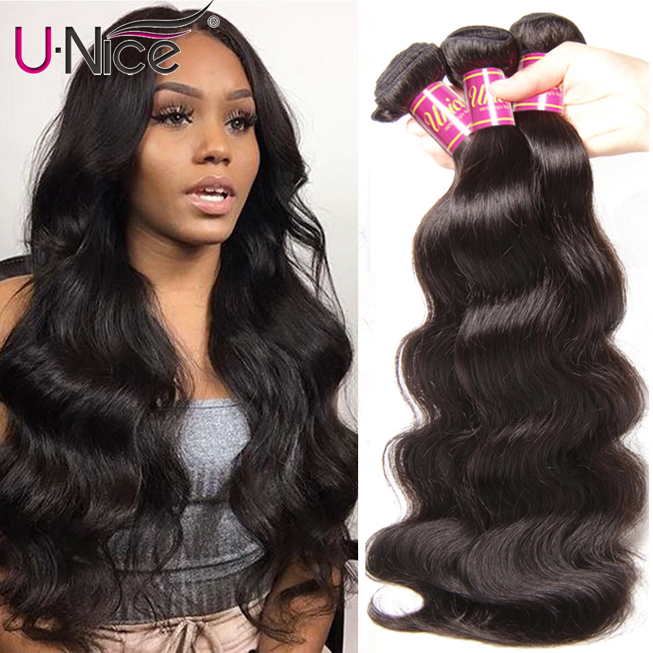 UNice Hair Peruvian Body Wave Hair Bundles 100% Human Hair Extensions 8 30inch Remy Hair Weaving Natural Color 1 Piece-in Hair Weaves from Hair Extensions & Wigs