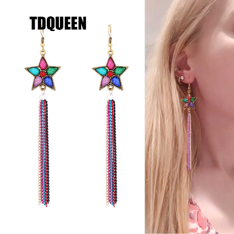 TDQUEEN Long Tassel Earring For Woman Gift Colorful Beads Butterfly Star Drop Dangle Strass Pendant Ethnic Party Earring Jewelry