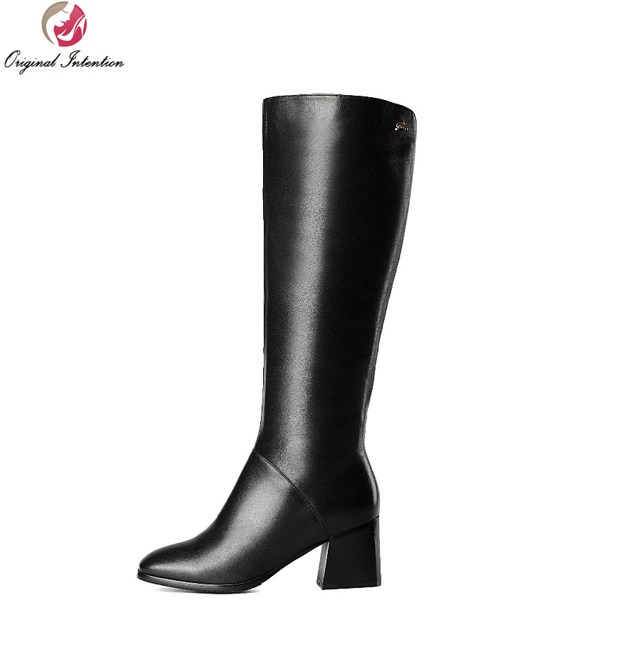 Original Intention High-quality Women Knee High Boots Round Toe Square Heels Boots Elegant Black Grey Shoes Woman US Size 4-10.5 цены онлайн