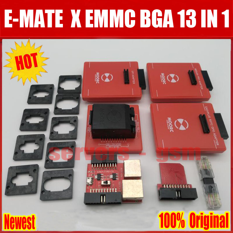 Newes E Mate Box E-mate X Emmc Bga 13 In 1 Support Bga100/136/168/153/169/162/186/221/529/254 For Easy Jtag Plus Ufi Box Riff Communication Equipments Telecom Parts