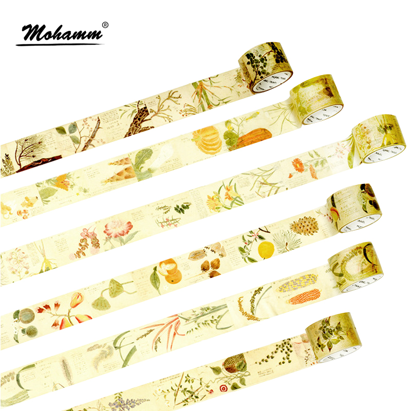 Creative Retro Plants Kraft Paper Decorative Adhesive Tape Washi Tape Masking Tape School Office Supply Sticker Label Stationery домкрат kraft кт 800026