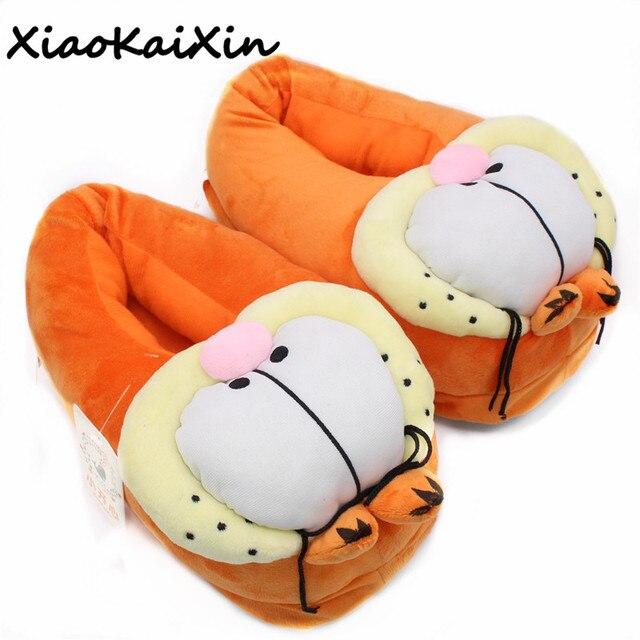 a0f69f76255 New Winter Garfield Style Slippers for Men Women Cute Cartoon Warm Plush  Furry Garfield Slipper Cotton Home Shoes Woman Flats