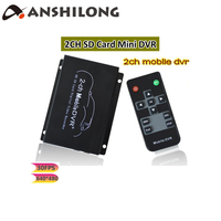 ANSHILONG 2Ch Mini SD Card Car DVR Mobile DVR with Audio Recording and Motion Detection DC 5 30V