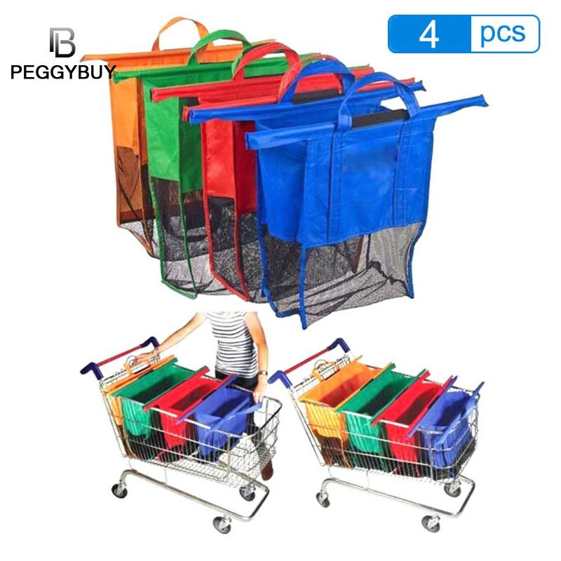 4pcs/Set Thicken Cart Trolley Supermarket Shopping Bag Foldable Reusable Eco-Friendly Shop Handbag Totes Collapsible Storage Bag