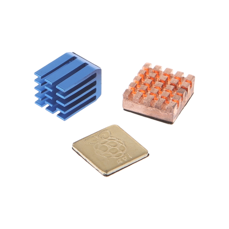 1 Aluminum + 2 Copper Heat Sinks Cooling Sitcky Pad For Raspberry Pi 2 3 Model B Long Use image