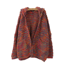 2019 New Sweater Cardigan Medium Long Thick Hooded Loose Knit Fashion Womens Coat Solid Lady Female