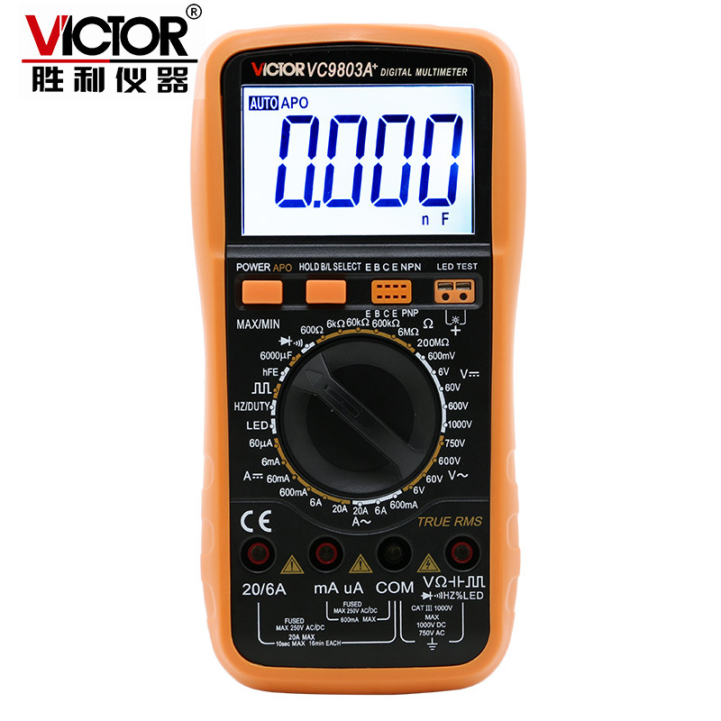 VC9803A + high-precision digital multimeter digital display more than 10,000 table universal test LED large capacitance 1001 digital oscilloscope probe high voltage withstand more than 2 100 products test leads