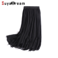 Women Silk skirt 100%Real Silk Solid Black Pleated Skirts Two layers Silk Knee length 2018 Spring Summer New