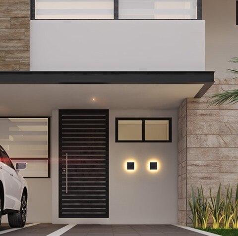 quadrado lampada de parede montado aluminio patio