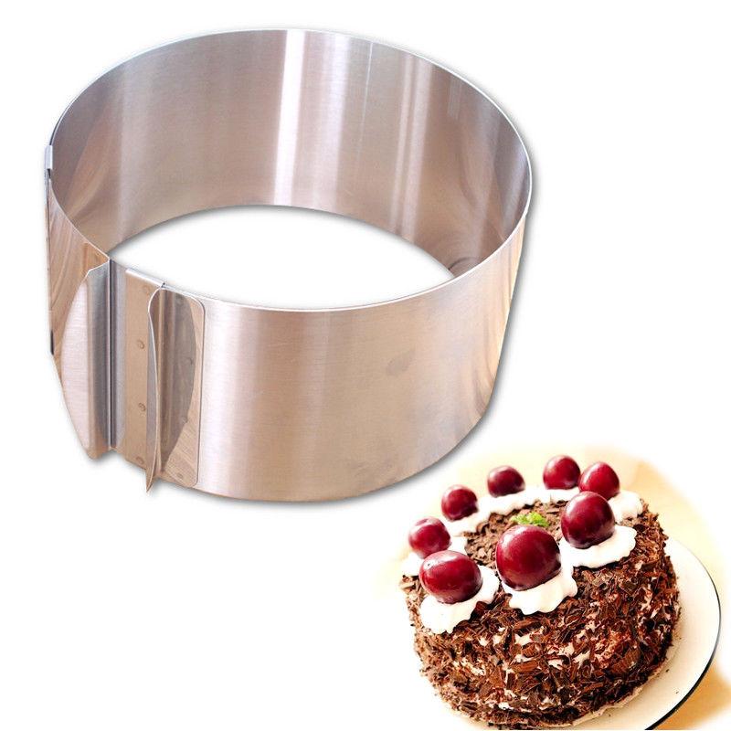עוגת טבעת 16-30cm מתכוונן נירוסטה Cricle אפייה עובש עגול Mousse עובש חותך חותך, עוגה Decorating כלים