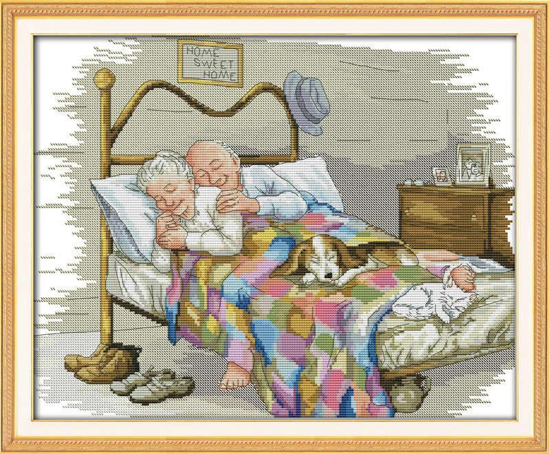 古い夫婦愛の絵画カウント印刷 DMC 14CT 11CT 中国クロスステッチ刺繍刺繍キット
