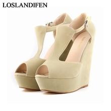 Hot Sale Women Peep Toe High Platform Wedge Sandals 2018 Heel WomenS Elegant Shoes Green Black NLK-A0095