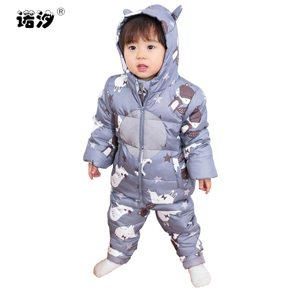 baby winter white duck down clothes sets New Infant baby Coat Snowsuit toddler Girls Outfits Snow Wear Jumpsuit baby boys pants new infant baby winter coat snowsuit duck down toddler girls winter outfits snow wear jumpsuit rabbit cartoon hoodies jacket set