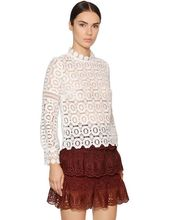 2016 New Women Retro Styles White Sheer Long-sleeved Floral Crochet-lace Top On-point Daisy-motif Trimand +mini Skirt