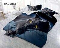 3D Bedding Set Black Cat Print Duvet Cover Set Lifelike Bedclothes with Pillowcase Bed Set Home Textiles BS007