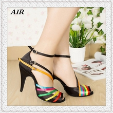 Three Buckles Satin Rainbow Latin Dance Shoes For Women High Heel Customized Dance Shoes Salsa Gray Shoes For Ballroom Dancing