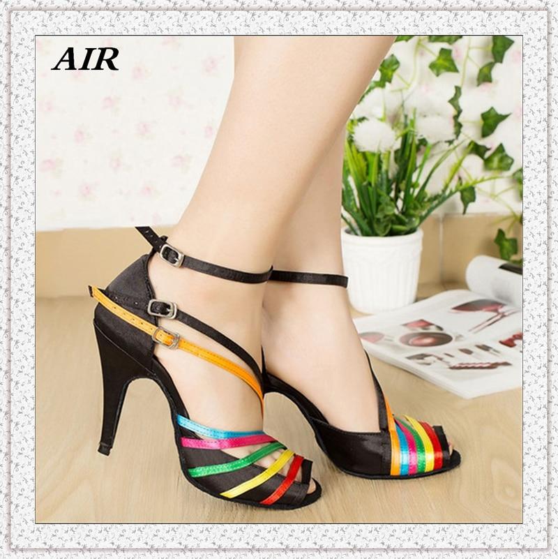 Three Buckles Satin Rainbow Latin Dance font b Shoes b font For Women High Heel Customized